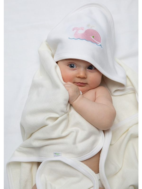 whale pink hooded towel