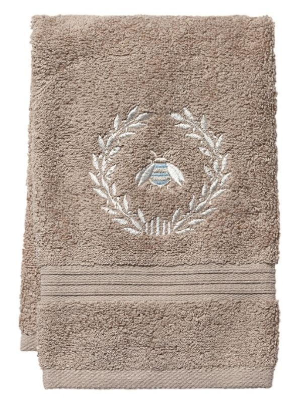 Guest Towel, Taupe Terry, Napoleon Bee Wreath (Duck Egg Blue) - DG71-NBWDE