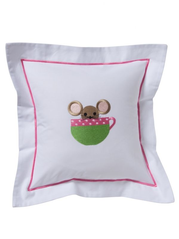 DG99-MICP Baby Pillow Cover - Mouse in Cup (Pink)