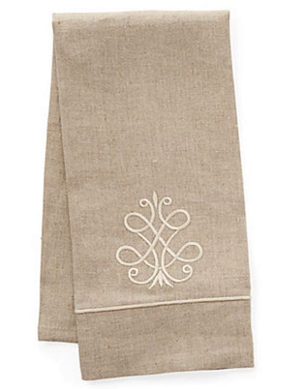Guest Towel, Natural Linen & Satin Stitch, French Scroll (Beige) - DG33-FSBE