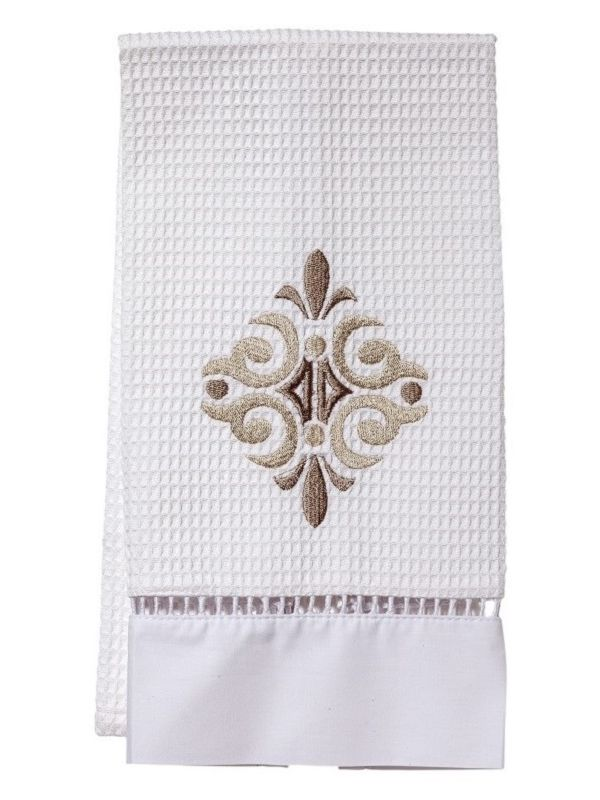 Guest Towel, Waffle Weave, Amalfi Scroll (Taupe) - DG02-AMST