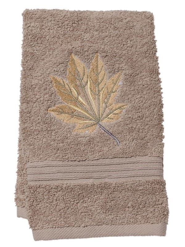 Guest Towel, Taupe Cotton Terry, Maple Leaf (Honey Gold) - DG71-MLHG