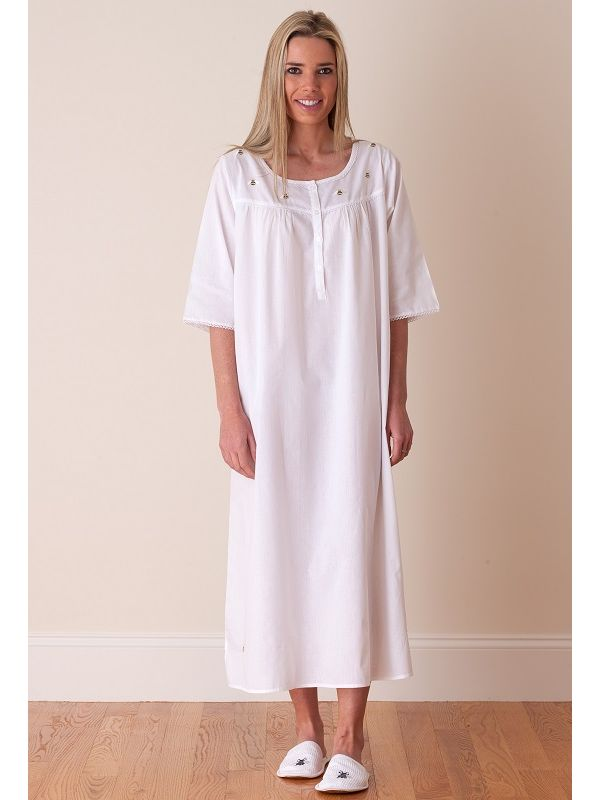 Bee White Cotton Nightgown, Embroidered - EL306**