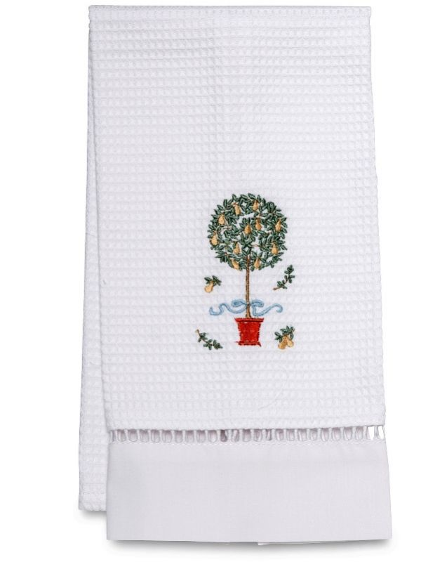 Guest Towel, Waffle Weave, Pear Topiary Tree (Yellow) - DG02-PTTY