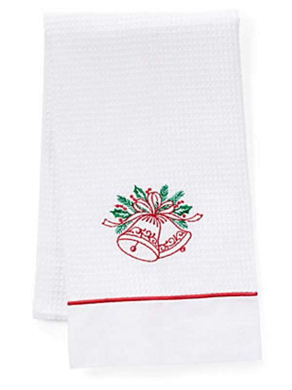 Guest Towel, Waffle Weave and Satin Trim, Holiday Bells (Red, Green) - DG08-HOBRG