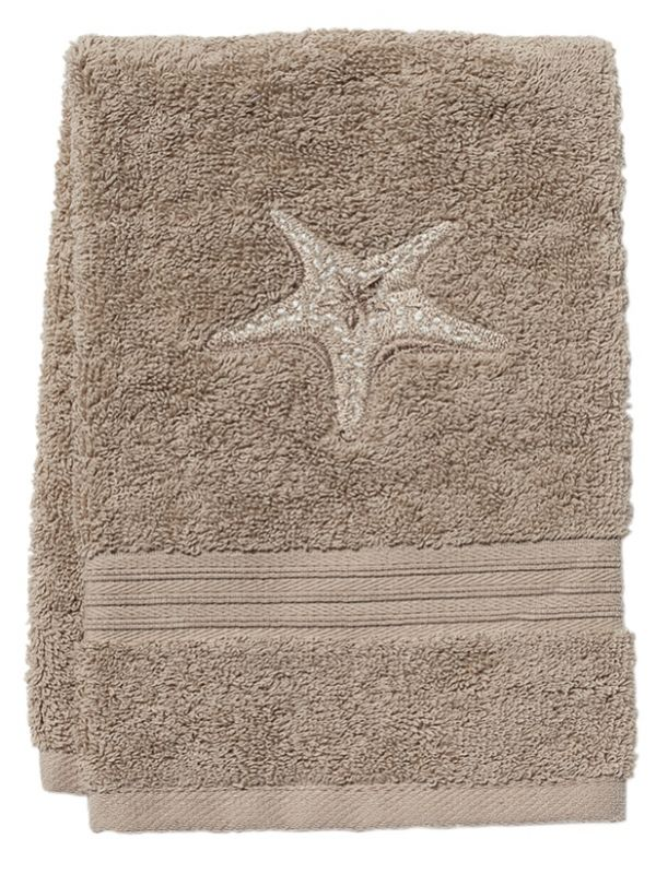 Guest Towel, Taupe Cotton Terry, Morning Sun Starfish (Beige) - DG71-MSFBE**