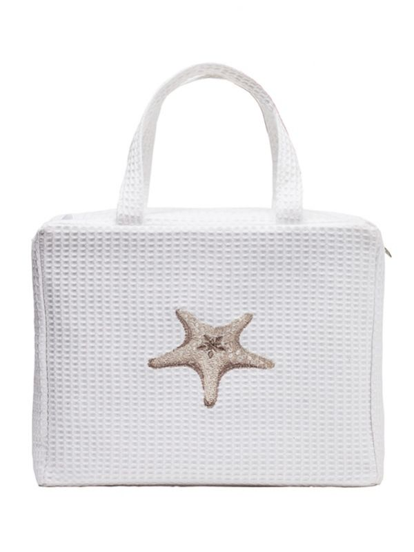 Cosmetic Case - White Cotton Waffle Weave, Embroidered - DG60