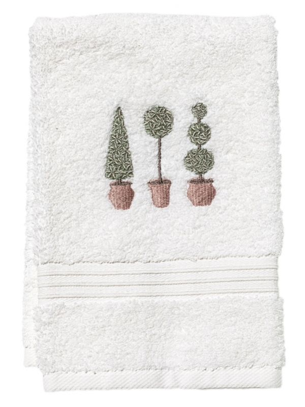 Guest Towel, Terry, Three Topiary Trees (Olive) - DG70-TTTO