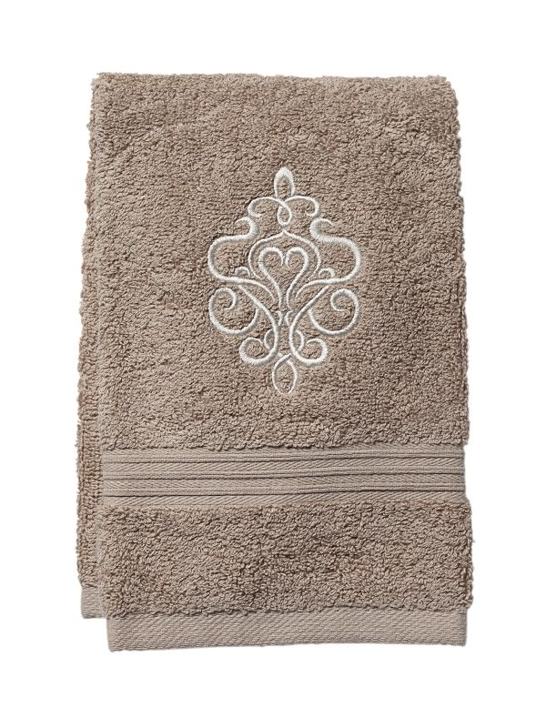 Guest Towel, Taupe Terry, Tuscan Scroll (Beige) - DG71-TSBE
