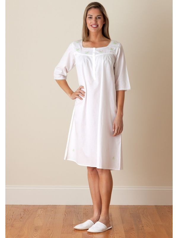 Isabelle White Cotton Nightgown, Embroidered - EL234**