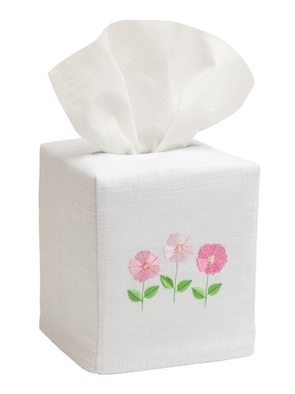 Tissue Box Cover, Row of Flowers (Pink) - DG17-ROFPK