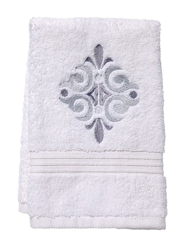 Guest Towel, Terry, Amalfi Scroll (Pewter) - DG70-AMSPW