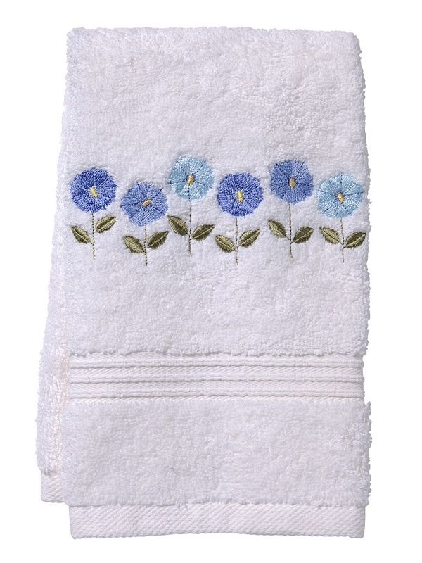 Guest Towel, Terry, Row of Flowers (Blue) - DG70-ROFBL**