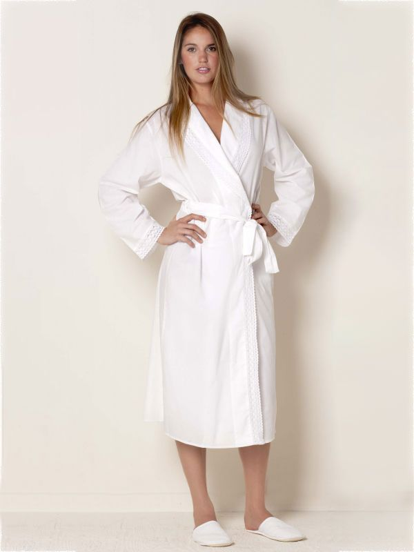 cotton bathrobe with lace