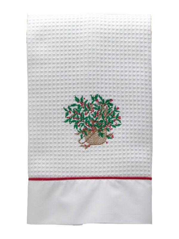 Guest Towel, Waffle Weave and Satin Trim, Holly Basket (Green/Red) - DG08-HBGR