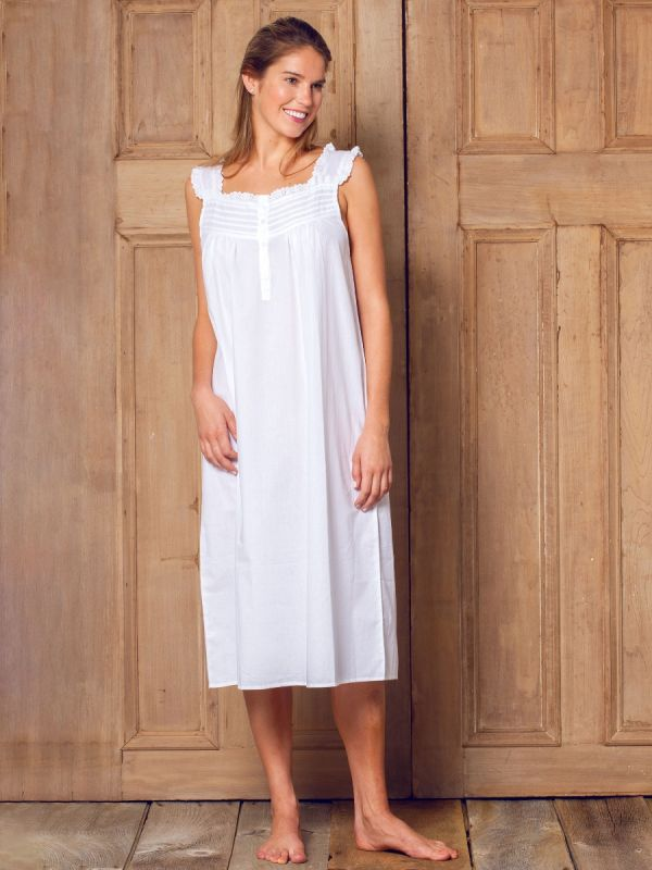 Mandi White Cotton Nightgown** - EL267