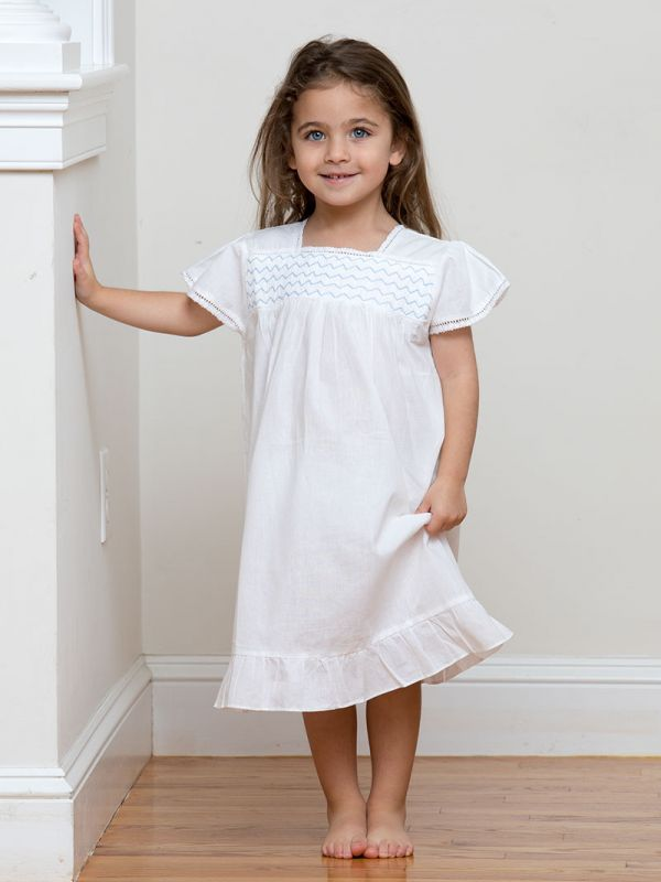 Amelia White Cotton Dress, Smocked** - EL341