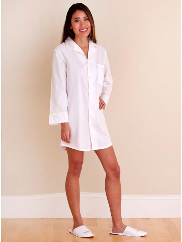 Audrey White Cotton Nightshirt, Champagne Piping** - EL294