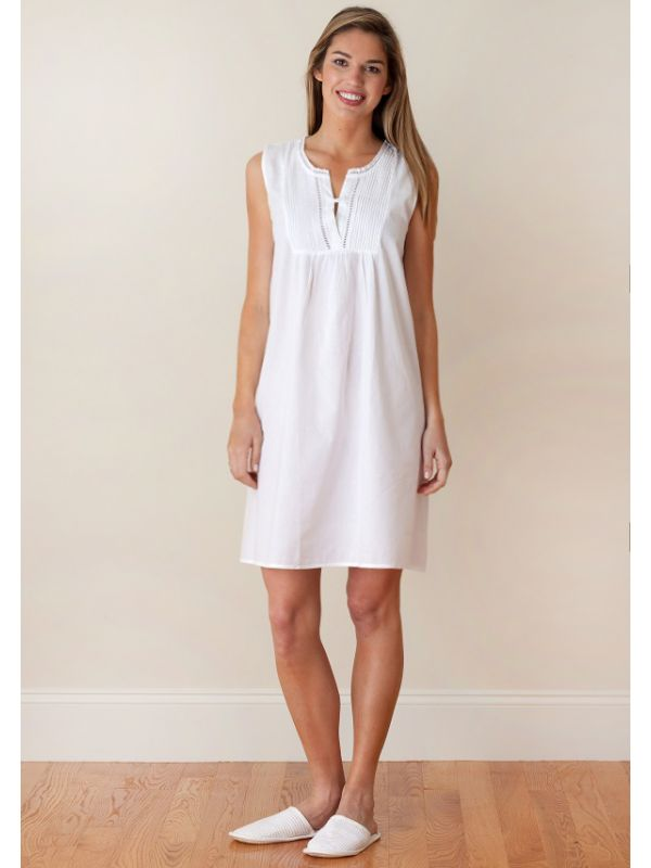 Chloe White Cotton Nightgown** - EL313