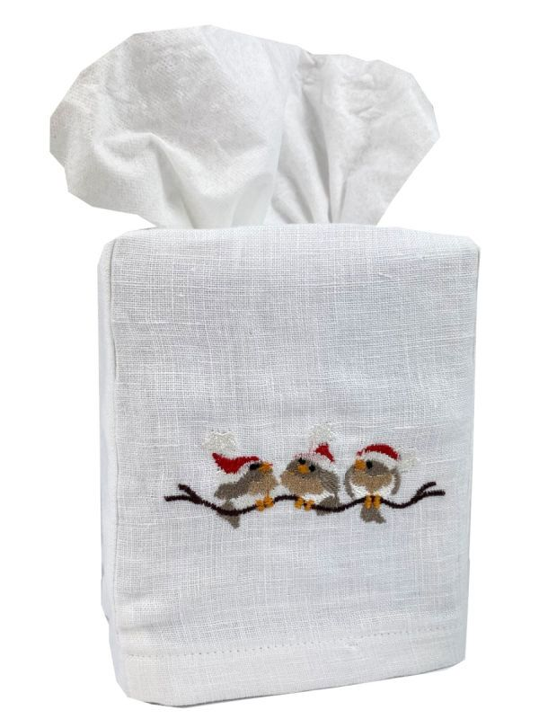birds on a branch christmas tissue box cover