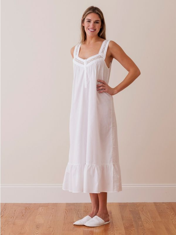 Courtney White Cotton Nightgown** - EL236