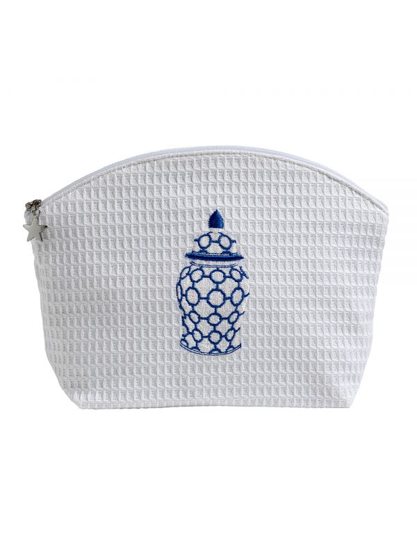 DG01-GJCBL Cosmetic Bag (Medium) - Ginger Jar Chain-Links (Blue)