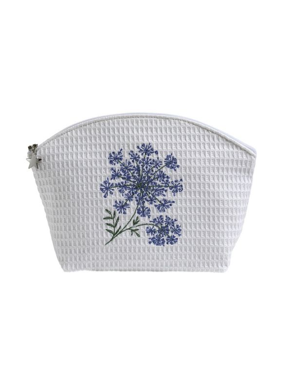 DG01-QALBL Cosmetic Bag (Medium) - Queen Anne's Lace (Blue)