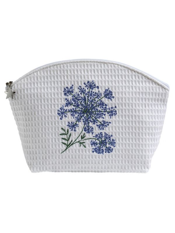 DG07-QALBL Cosmetic Bag (Large) - Queen Anne's Lace (Blue)
