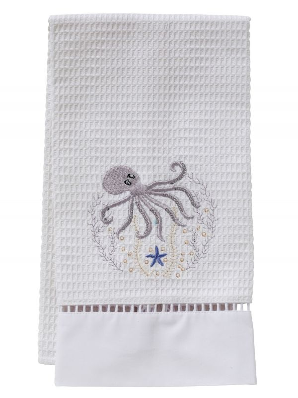 Guest Towel, Waffle Weave, Octopus (Pewter) - DG02-OCTPW