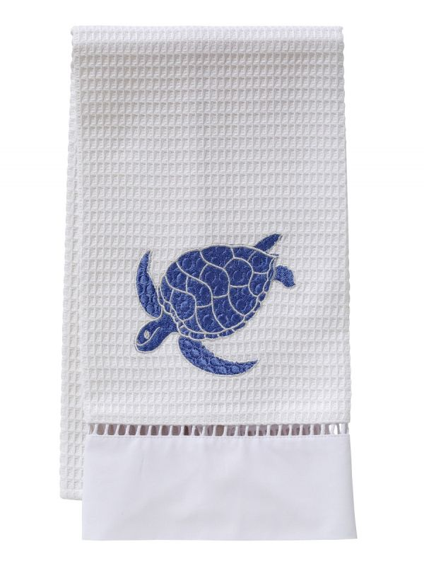 Guest Towel, Waffle Weave, Swimming Turtle (Blue) - DG02-SSTBL