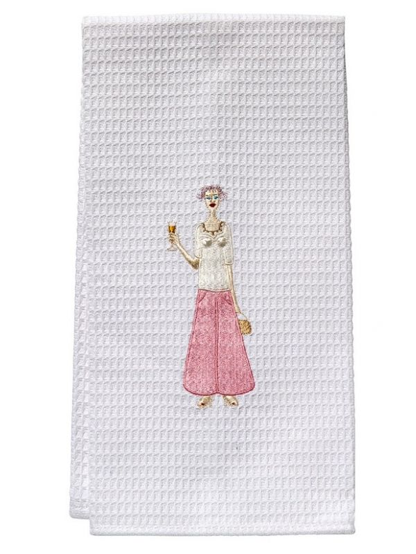 Guest Towel - White Waffle Weave, Embroidered People