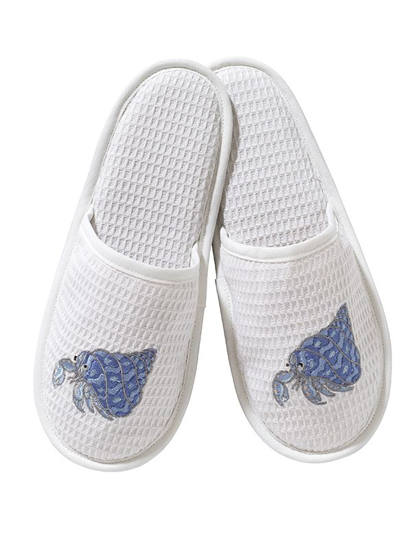 DG05-HCBL Slippers, Waffle Weave - Hermit Crab (Blue)