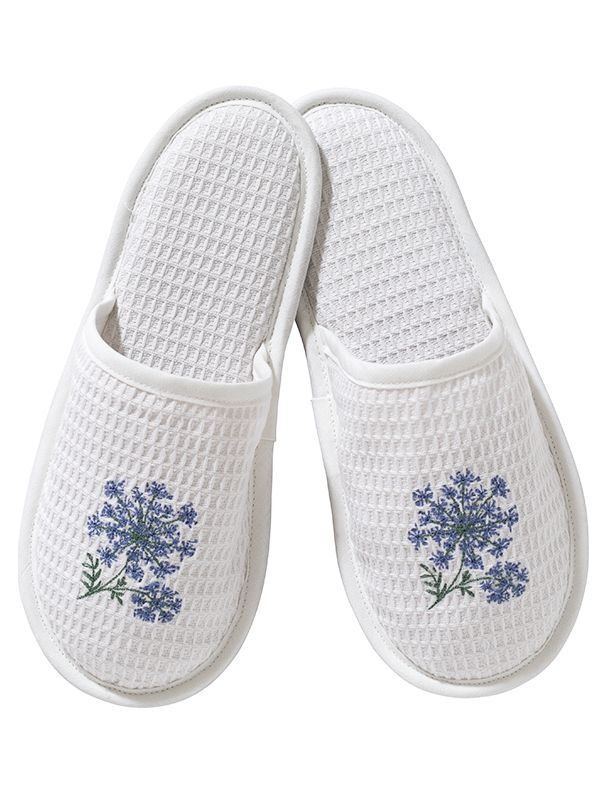 DG05-QALBL Slippers, Waffle Weave - Queen Anne's Lace (Blue)