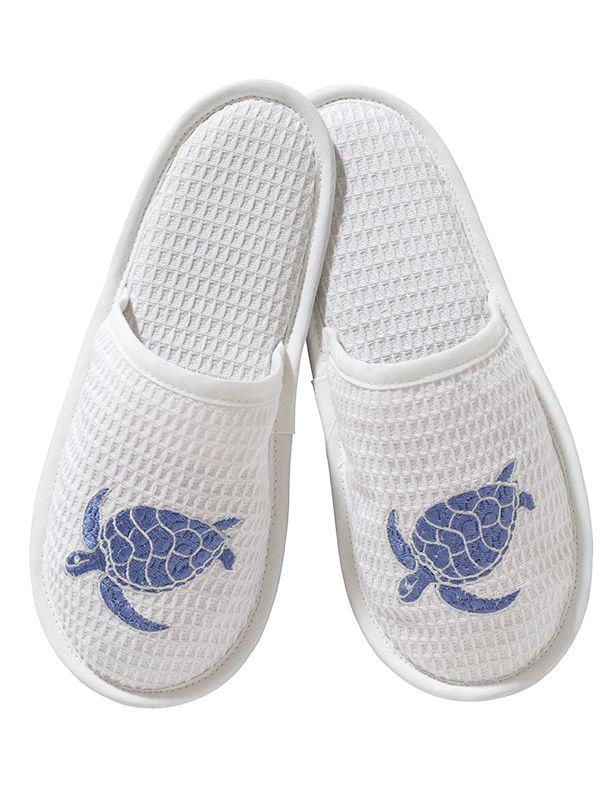 DG05-SSTBL Slippers, Waffle Weave - Swimming Turtle (Blue)