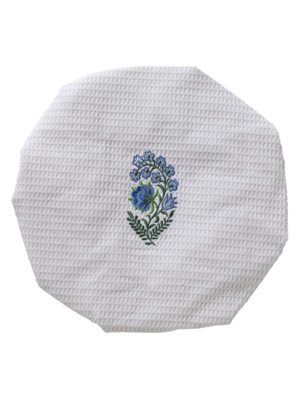 Shower Cap - White Cotton Waffle Weave, Embroidered