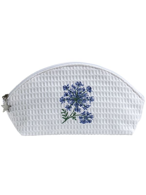 DG10-QALBL Cosmetic Bag (Small) - Queen Anne's Lace (Blue)