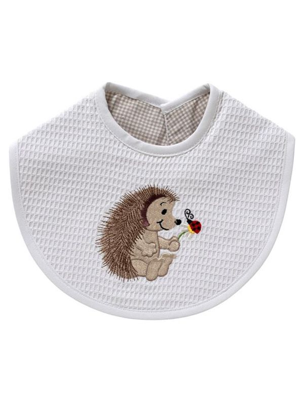 Baby Bib** - White Waffle Weave, Gingham Lining, Embroidered