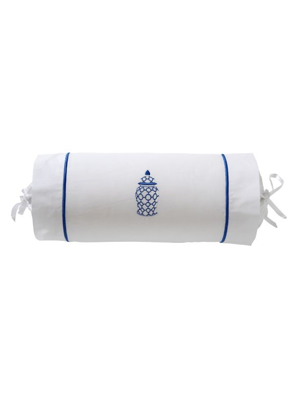 "DG135-GJCBL Bolster, Satin Stitch 6"" x 14"" (Incl Insert) - Ginger Jar Chain-Links (Blue)"
