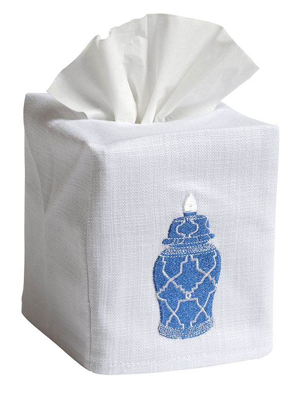 DG17-GJGBL Tissue Box Cover (Cotton-Linen) - Ginger Jar Geometric (Blue)