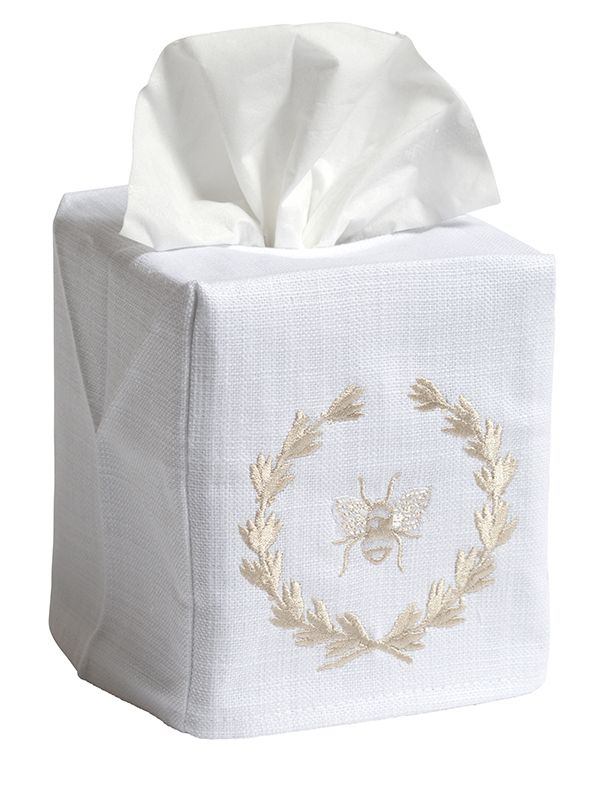 DG17-BWBE Tissue Box Cover - Bee Wreath (Beige)
