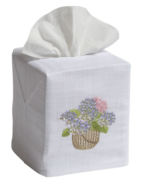 DG17-HBPB Tissue Box Cover - Hydrangea Basket (Pink, Blue)