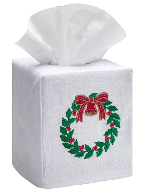 DG17-HWGR Tissue Box Cover, Linen Cotton - Holly Wreath (Green, Red)