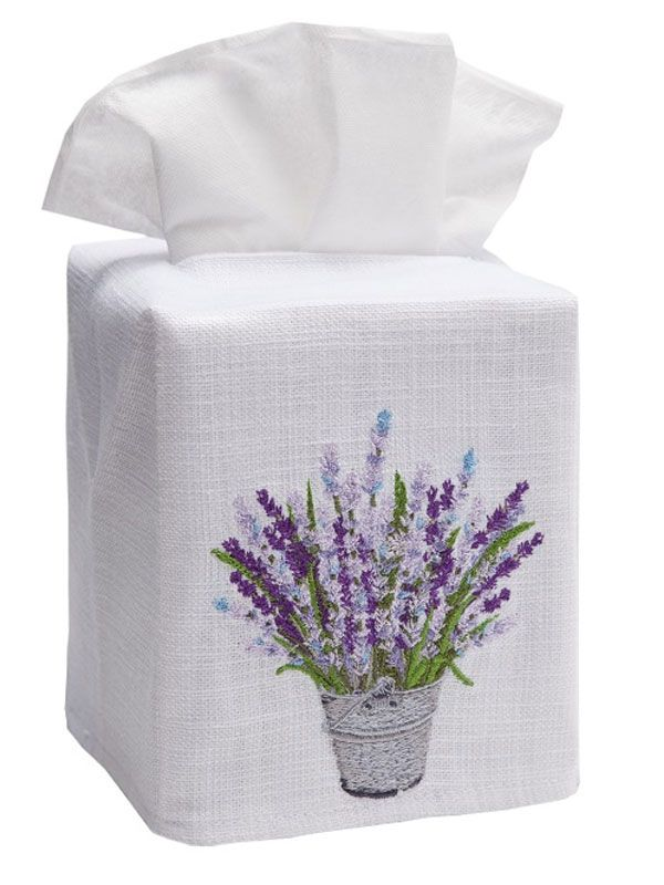 DG17-LBLV Tissue Box Cover, Linen Cotton - Lavender Bucket (Lavender)