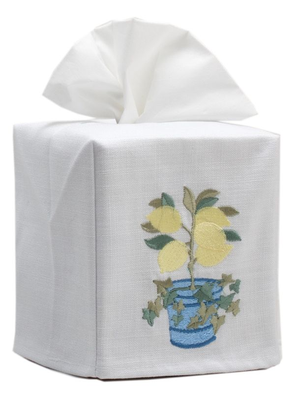 DG17-LIVY Tissue Box Cover, Linen Cotton - Lemons & Ivy (Yellow)