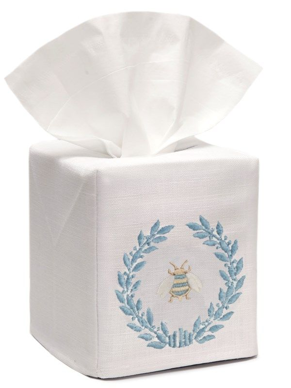 DG17-NBWDE** Tissue Box Cover, Linen Cotton - Napoleon Bee Wreath (Duck Egg Blue)