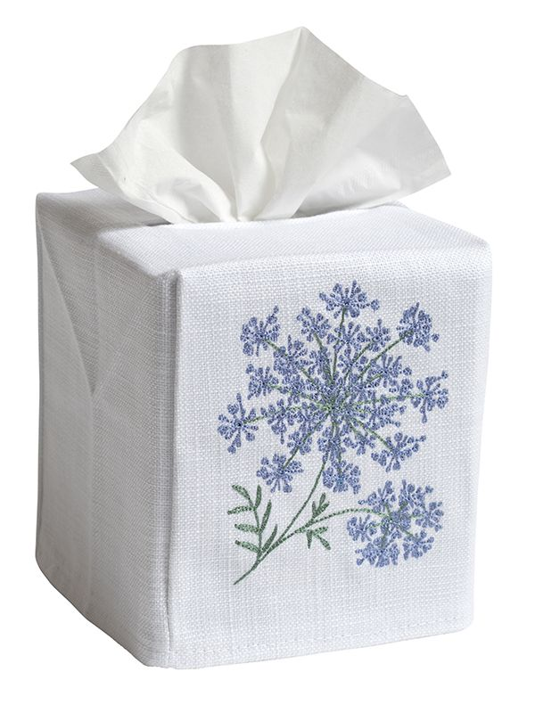 Tissue Box Cover, Queen Anne's Lace (Blue) - DG17-QALBL