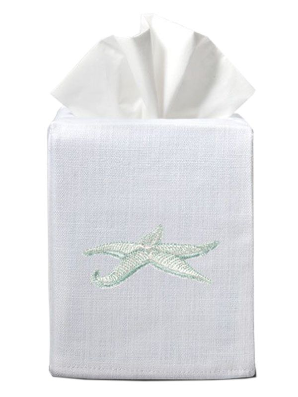 DG17-SFAQ Tissue Box Cover (Cotton-Linen) - Starfish (Aqua)