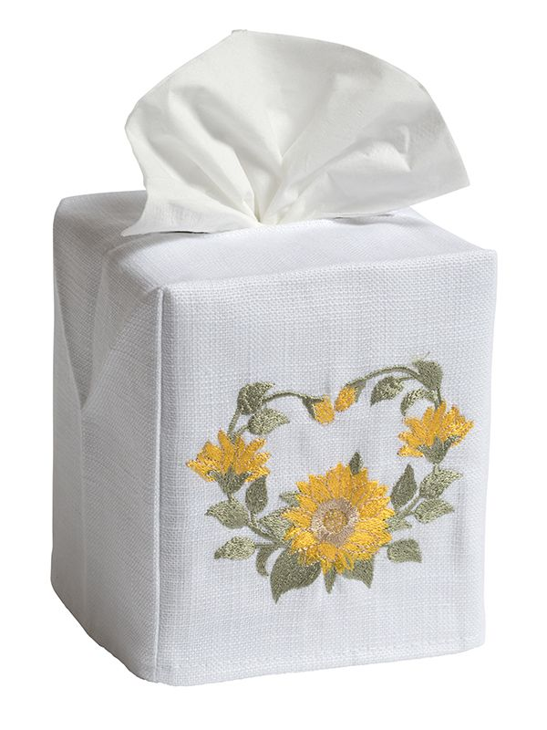DG17-SNFCY Tissue Box Cover, Linen Cotton - Sunflower Circle