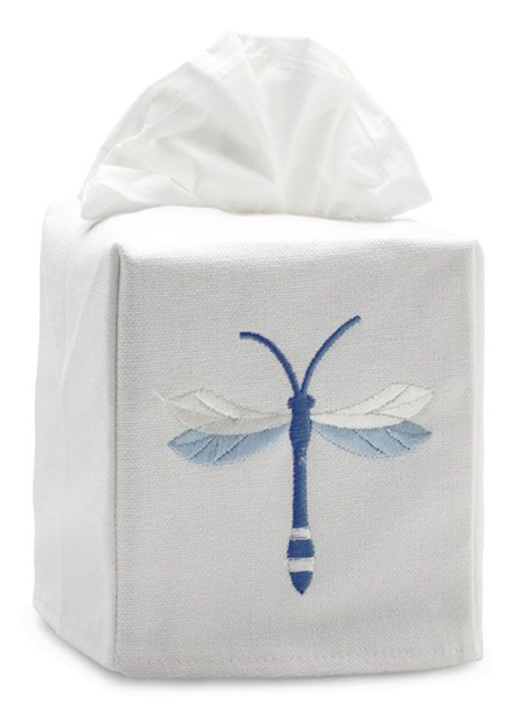 DG17-TWDBL Tissue Box Cover, Linen-Cotton - Twilight Dragonfly (Blue)