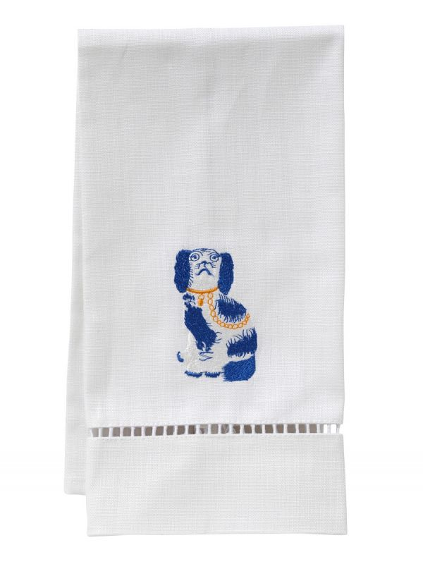 DG21-SDGBL Guest Towel, White Linen & Satin Stitch - Staffordshire Dog (Blue)